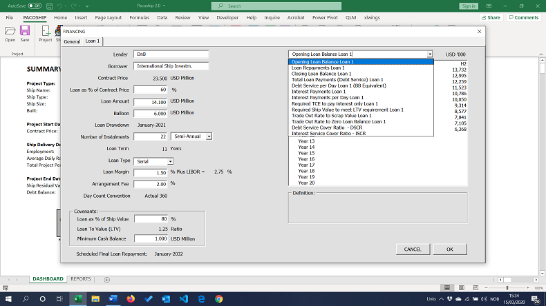Pacoship Ship Finance Model with Excel