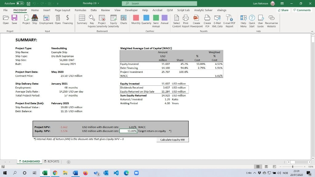 Pacoship Ship Finance Modelling Dashboard